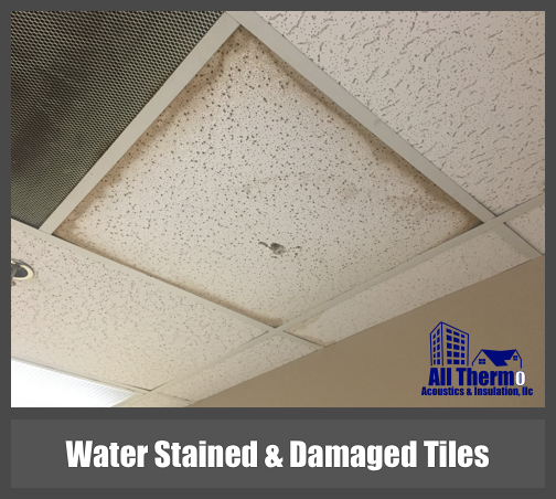 Water Marks And Stained Ceiling Tiles Or Panels